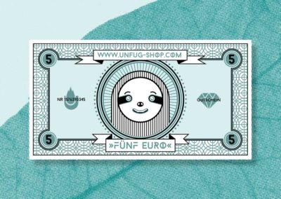 Unfug Geldschein Illustration vorne