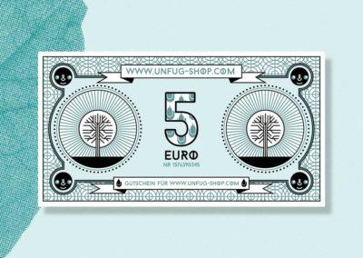 Unfug Geldschein Illustration hinten